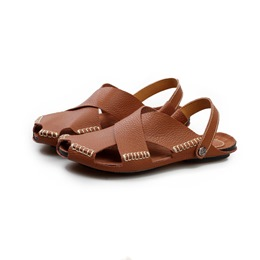 Shoespie Summer Leather Cut-Out Strappy Men's Slipper