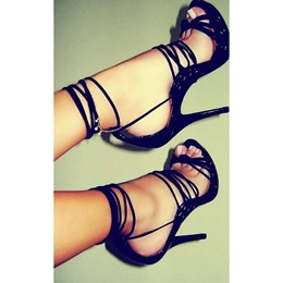 Shoespie Patent Leather Ankle Strap Dress Sandals