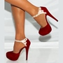 Shoespie Red Sequined Ankle Strap Platform Heels