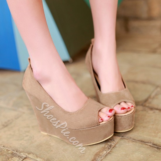 Shoespie Ankle Wrap Peep-Toe Wedge Heels