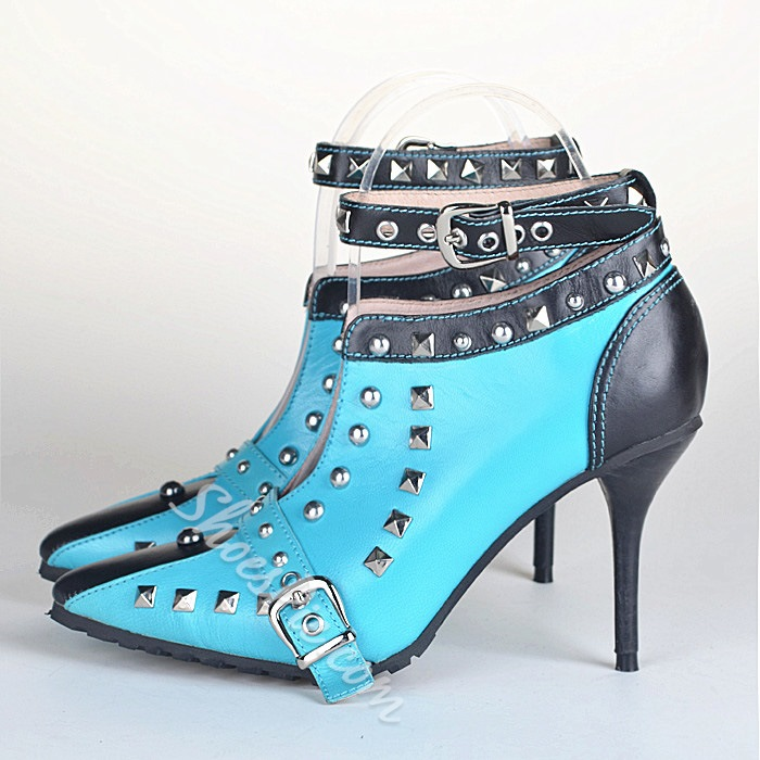 Shoespie Rivets Decoration Buckled Ankle Boots