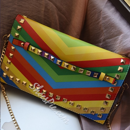 Shoespie Rivets Rainbow Chain Handbag