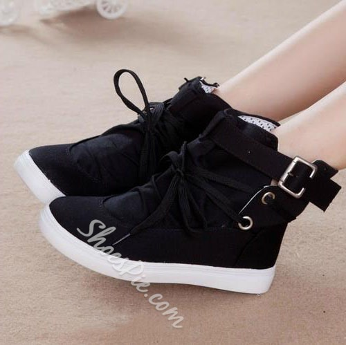 Appealing Solid Color Lace-Up Canvas Shoes