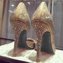 Shoespie Golden Rhinestone Stiletto Heels