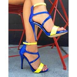 Shoespie Assorted Color Patent Leather Stiletto Sandals