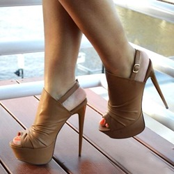Shoespie Chic Brown Peep Toe Draped Slingback Platform Heels