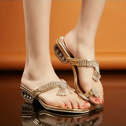 Shoespie Golden Clip Toe Jeweled Sandal Slippers