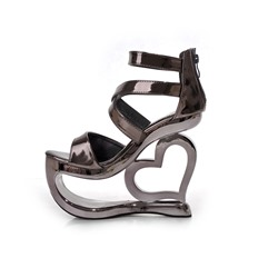 Shoespie Metal Color Strange Wedge Heel Sandals