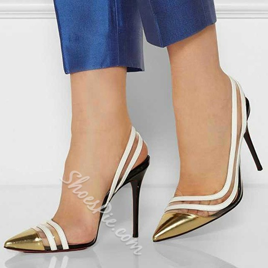Shoespie Contrast Color Sequined Stiletto Heels