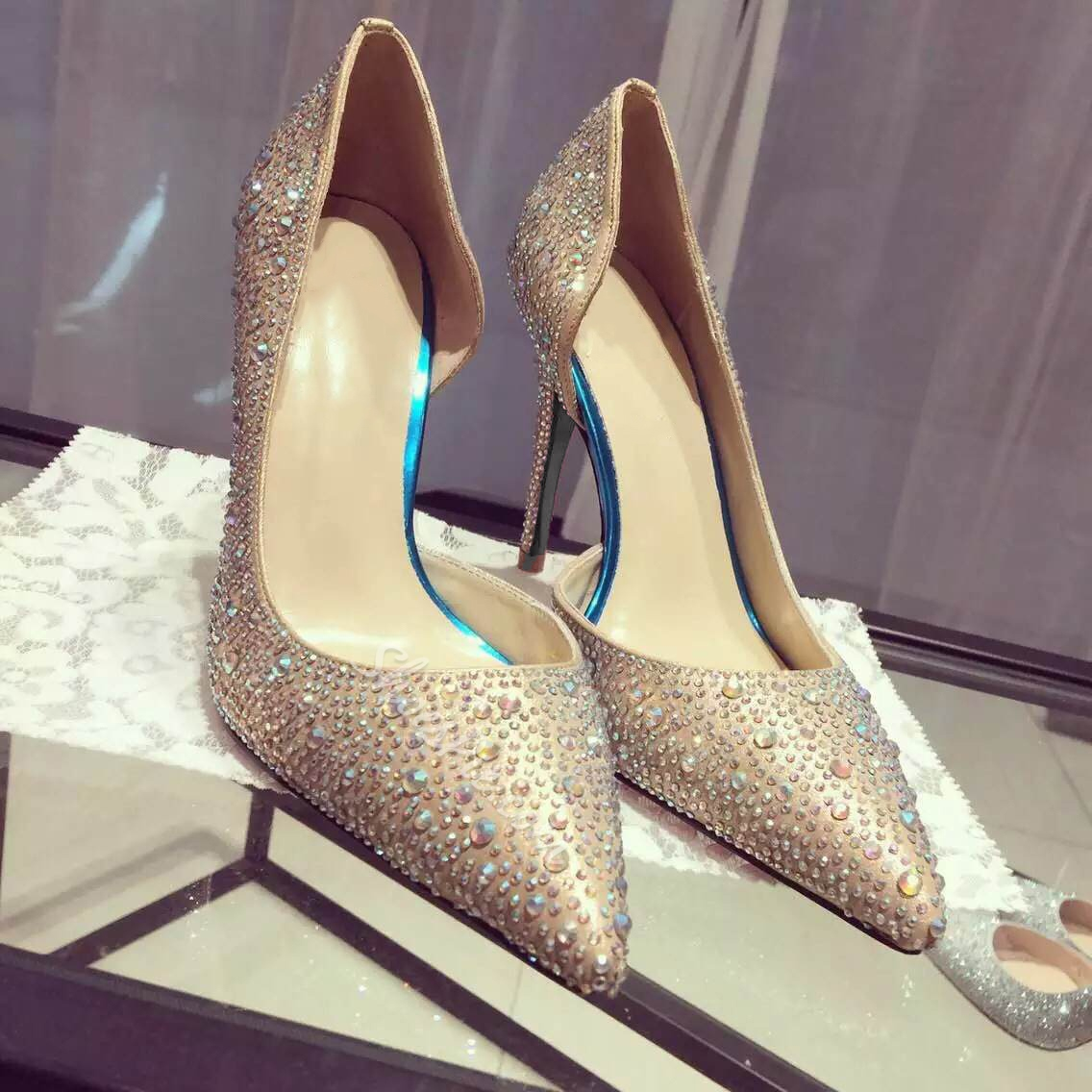 Shoespie Rhinestone Pointed-toe Gold Stiletto Heels
