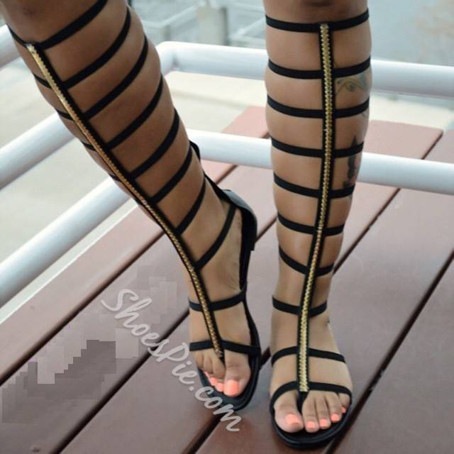 471adc29b249 Shoespie Cut-out Zipper Knee High Flat Gladiator Sandals- Shoespie.com