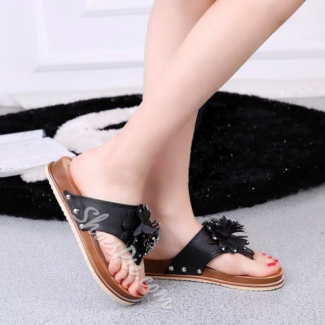 Shoespie Flower Thong Flat Slipper