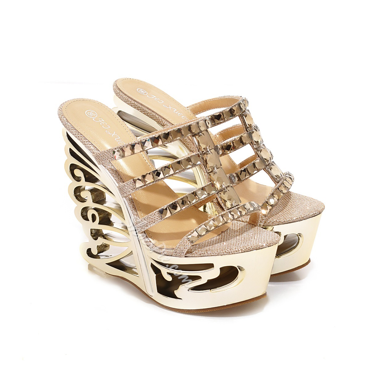 Shoespie Cut-out Rhinestone Wedge Sandals