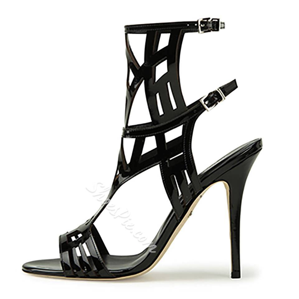 Shoespie Patent Leather Cut-out Stiletto Sandals
