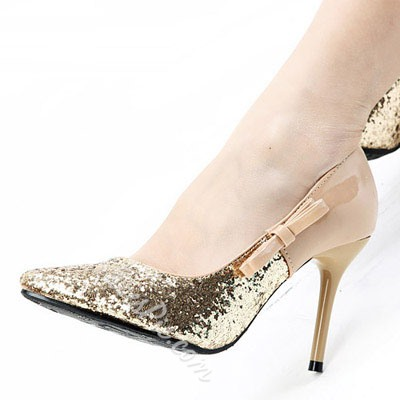 Shoespie Bowtie Sequined Pointed-Toe Stiletto Heels
