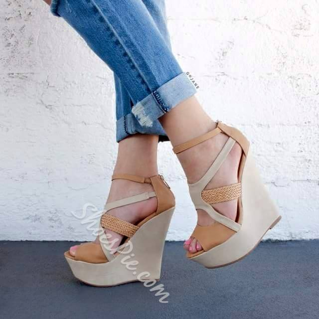 Shoespie Assorted Color Strap Wedge Sandals
