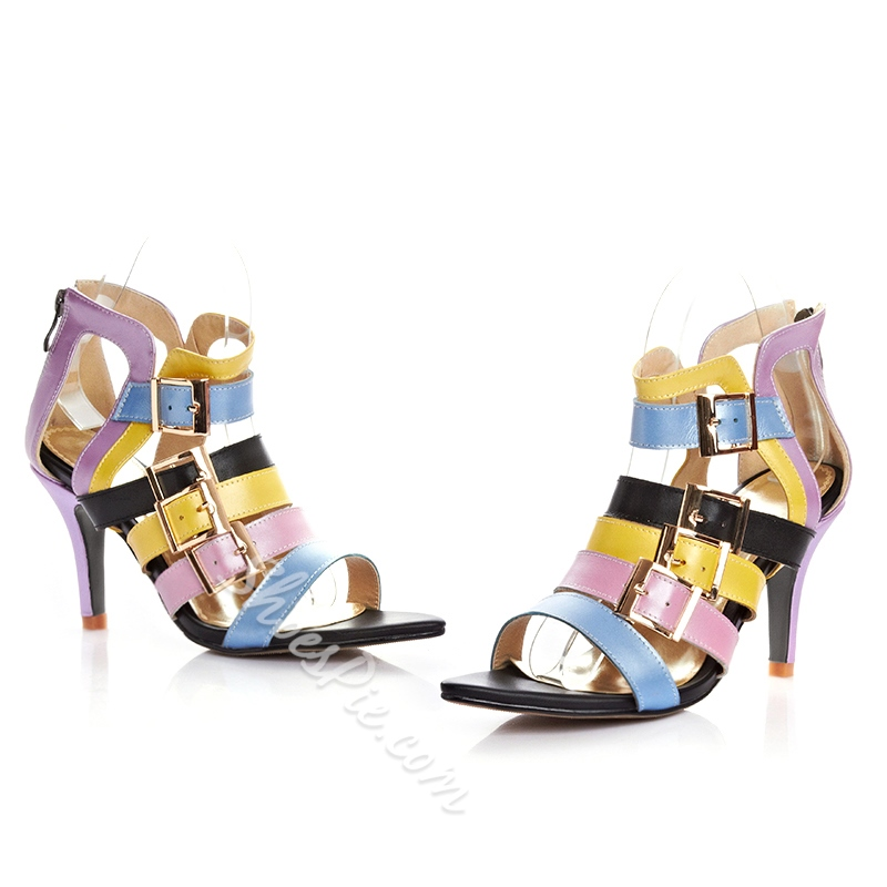 Shoespie Assorted Color Buckle Decorated Sandals