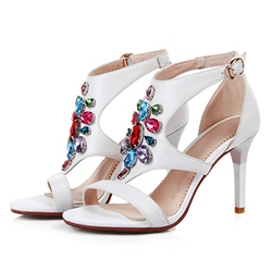 Shoespie Color Rhinestone Buckle Stiletto Sandals