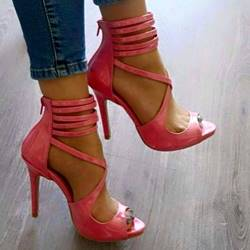 Shoespie Strap Cut-out Zipper Stiletto Sandals