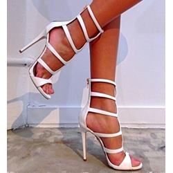 Shoespie White Cut-out Zipper Stiletto Sandals