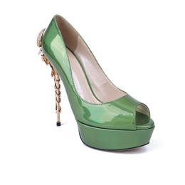 Shoespie Patent Leather Metal Crab Strapped Stiletto Sandals