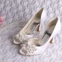 Shoespie White Stylish Peep Toe Beads Slip-On Bridal Shoes