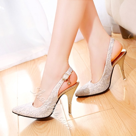 Shoespie Pointed-toe Buckle Stiletto Heels