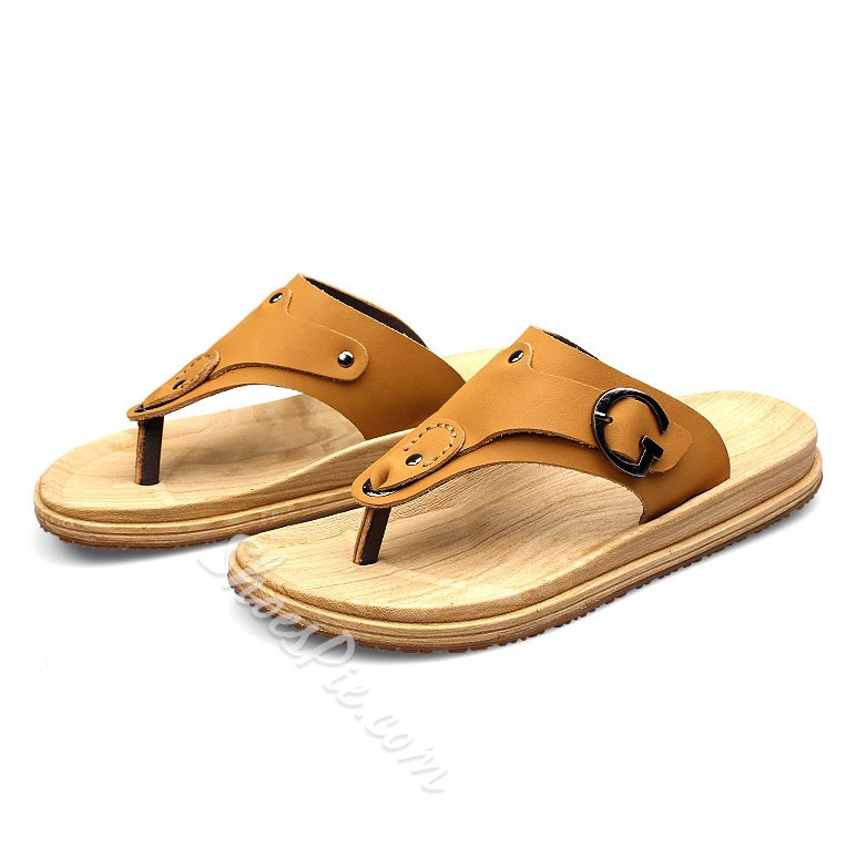 Shoespie Summer PU Buckle Decoration Thong Men's Slippers