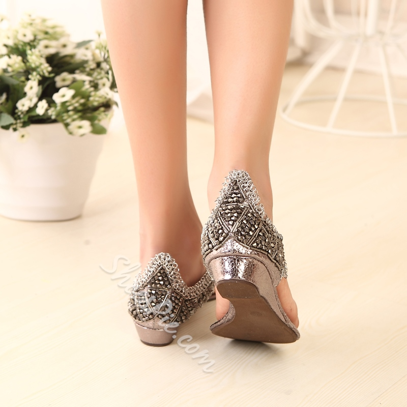 Shoespie Chains and Rhinestone Thong Flat Sandals