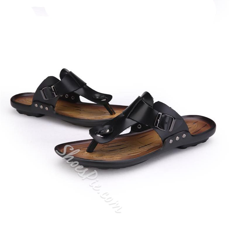 Shoespie High Quality PU Thong Men's Loafers