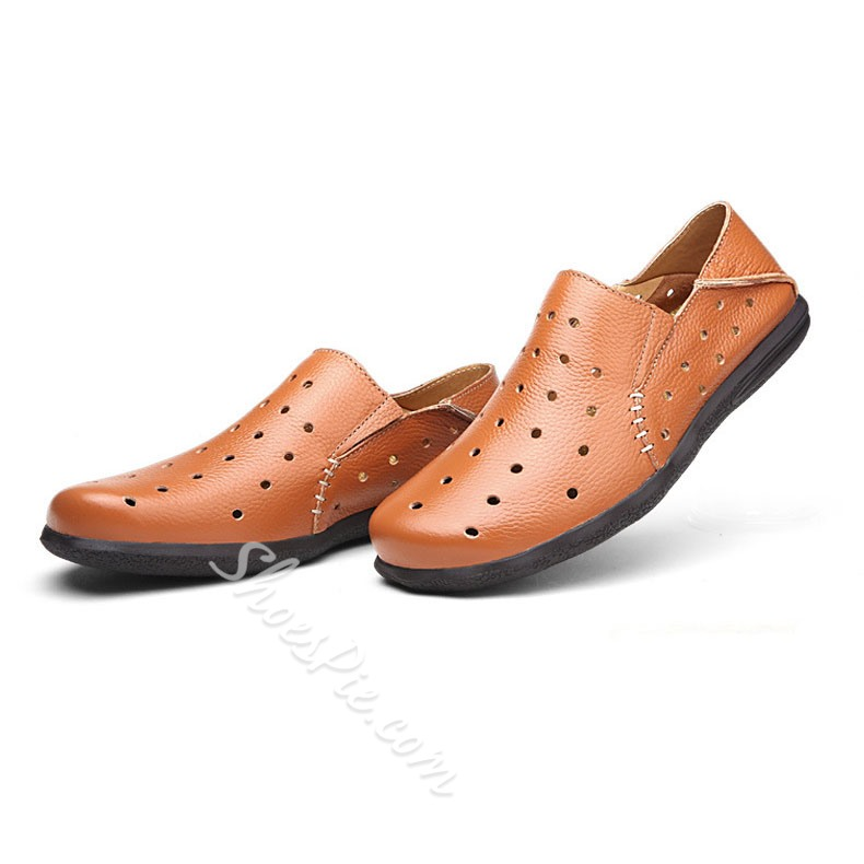 Shoespie Summer Comfortable Leather Hollow Out Men's Sandals