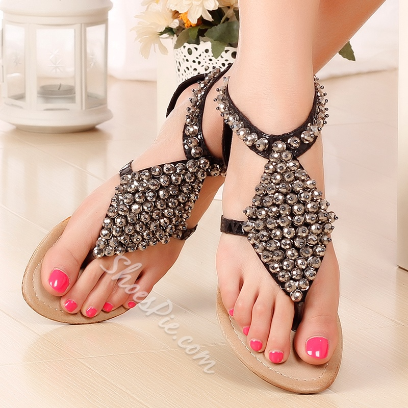 Shoespie All Beading Thong Flat Sandals