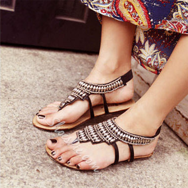 Shoespie Black Beading Thong Flat Sandals