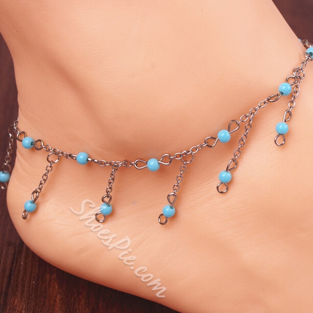 Shoespiel Blue Beading Metal Anklet