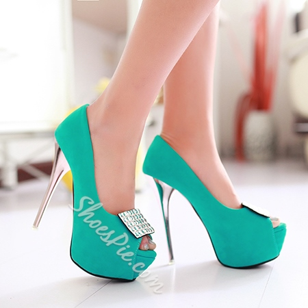 Shoespie Square Shape Rhinestone Peep-toe Stiletto Heels