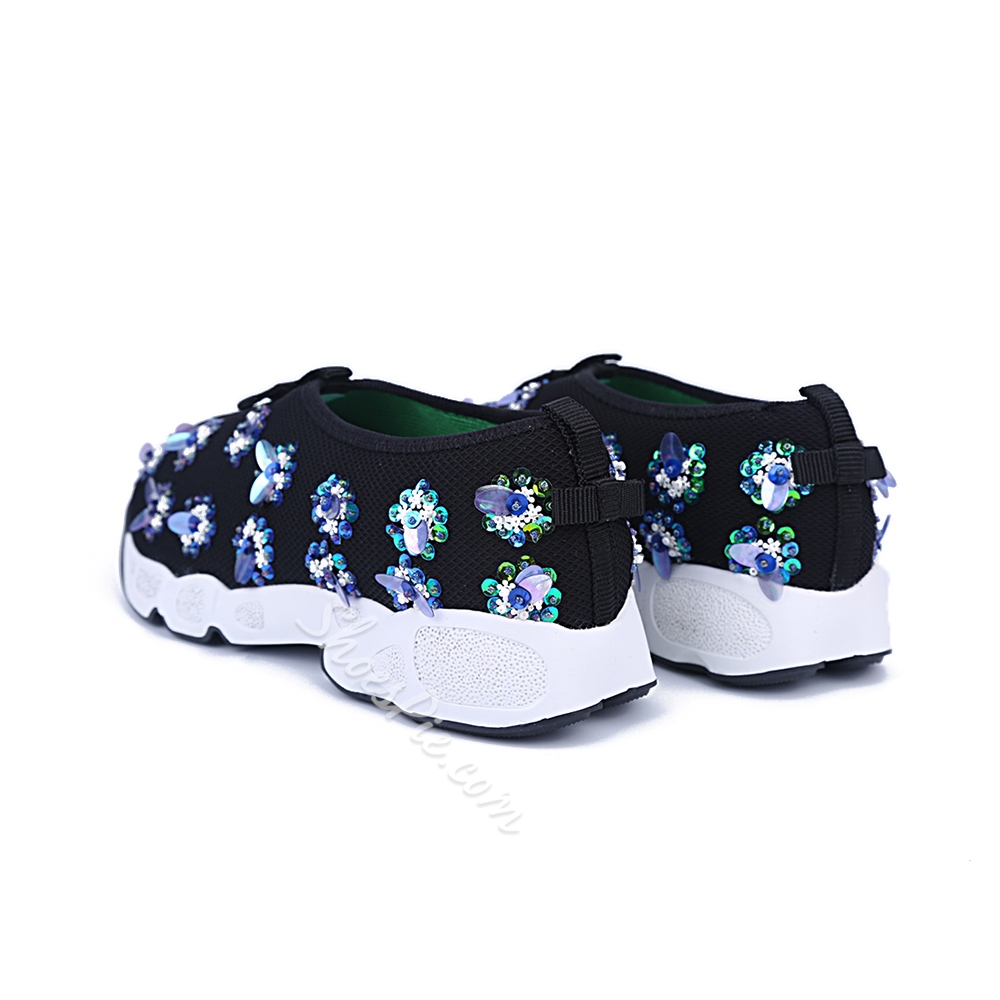 Shoespie Lace Upper Print Flat Canvas Shoes