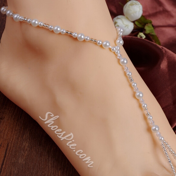 Shoespiel White Beading Thong Anklet