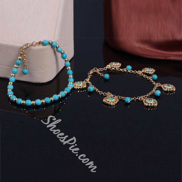 Shoespie Metal Beading Rhinestone Studded Chain Anklet