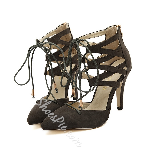 Shoespie Suede Cross Lace-up Stiletto Heels