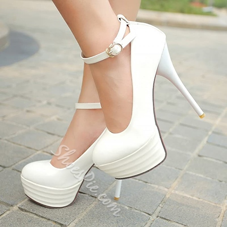 Shoespie Ankle Wrap Buckle Platform Heels