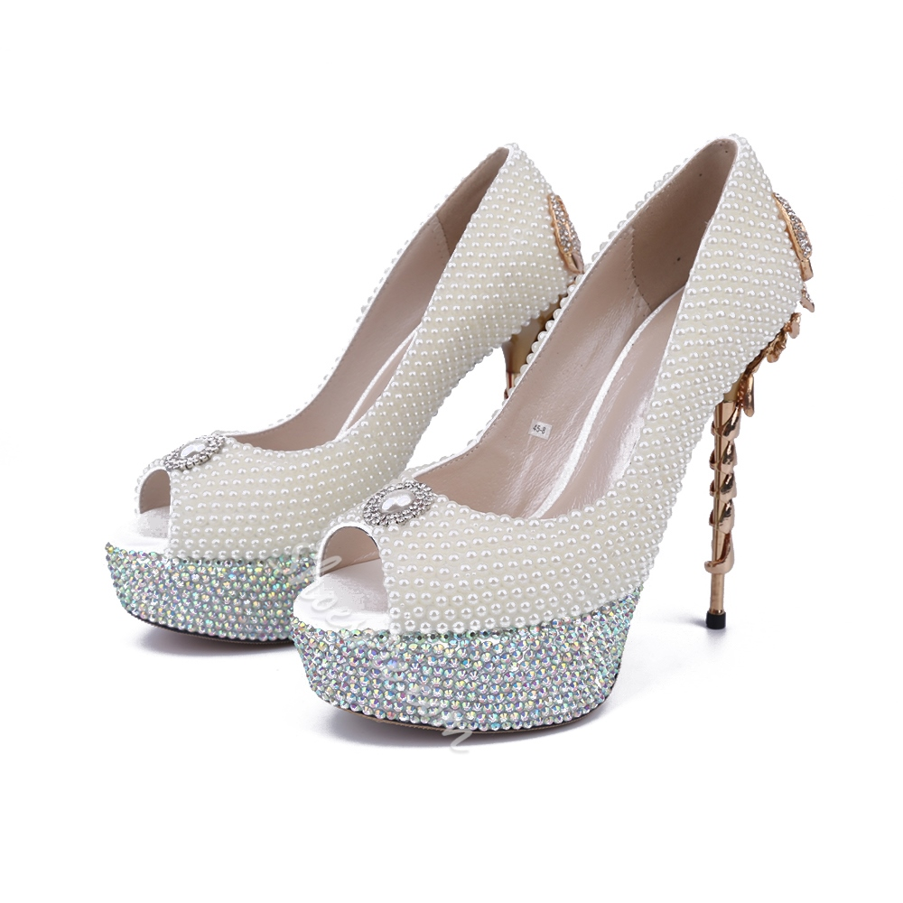 Shoespie Awesome Pearl Back Scorpion Appliqued Bridal Shoes