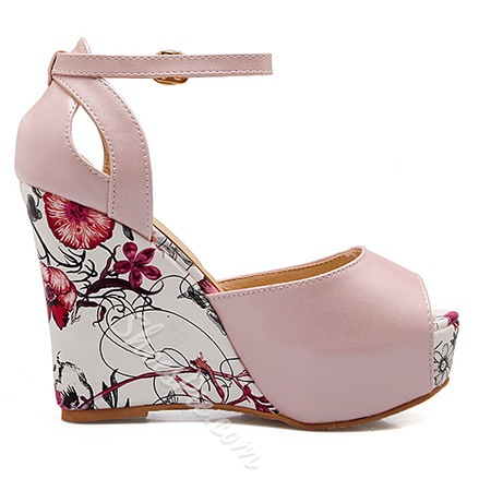 Shoespie Color Patchwork Wedge Sandal