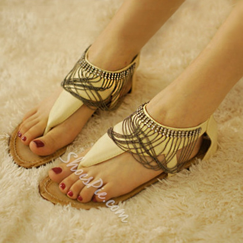 Shoespie Hobo Chains Ankle Wrap Thong Flat Sandals