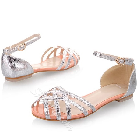 Shoespie Cut-out Peep-toe Flat Sandals