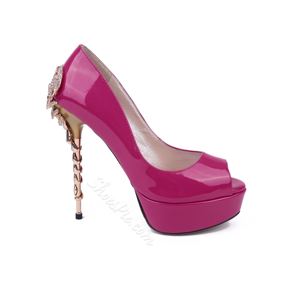 Shoespie Rose Patent Leather Peep-toe Stiletto Heels