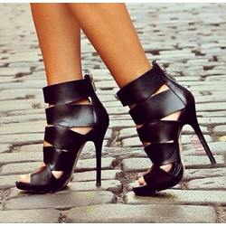 Shoespie High-top Cut-out Zipper Dress Gladiator Gladiator Sandals