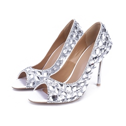 Shoespie Shining Rhinestone Metal Heel Stiletto Heels