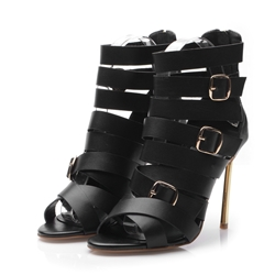 Shoespie Buckle Decorated Wrap Stiletto Gladiator Sandals