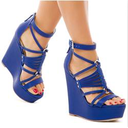 Shoespie Metal Link Ankle Wrap Wedge Sandals