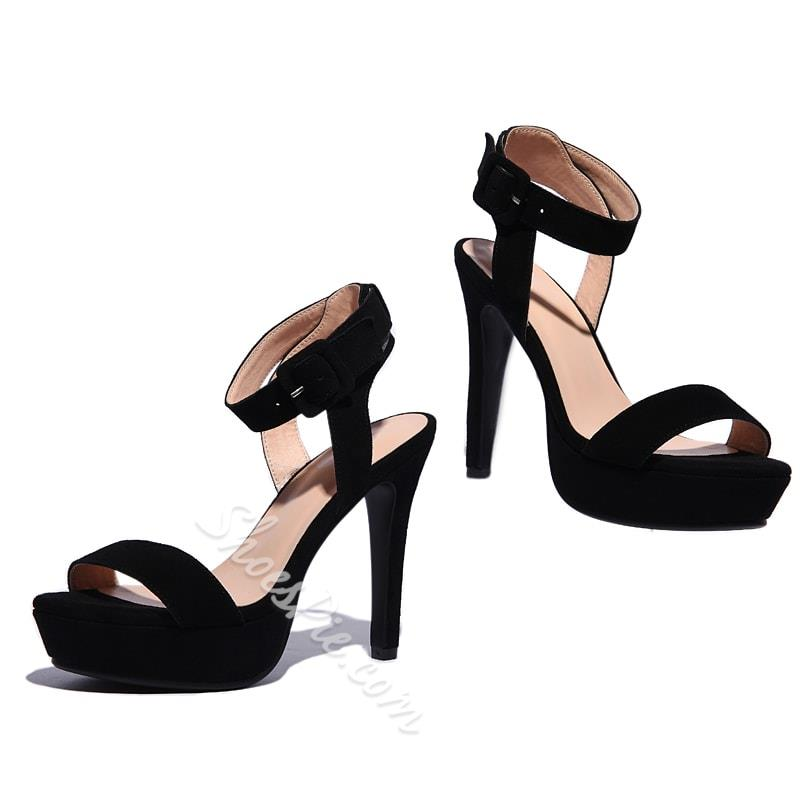 Shoespie Suede Buckle Decorated Dress Sandals